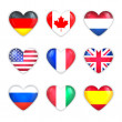 Glass Heart Flags of Countries Icon Set. Isolated on White. — Stock Photo #39297389