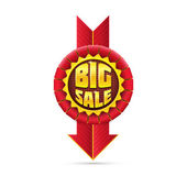 Red Sale Badge With Shadow on White Background. — Stock Photo