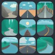 Travel Icons Set: Landscapes — Stock Vector