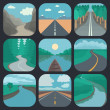 Travel Icons Set: Landscapes — Stock Vector #39384737