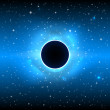 Stock Photo: Glowing black planet in outer space