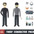 Stock Vector: Thief Character Set