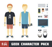Geek Character Set — Stock Vector