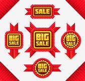 レッド販売バッジのセット — ストックベクタ