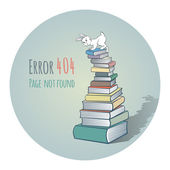 Rabbit on a Pile of Books - Error 404 — Vecteur