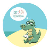 Crocodile With a Book - Error 404 — Stock Vector