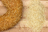 Close-up image of a bagel bread with sesame seeds — Stock Photo