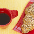 Coffee and whole wheat croissant — Stock Photo #51350473