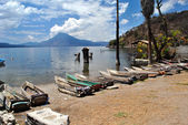 Fishing boats at Atitlan lake, Guatemala — Stock Photo