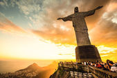 Christ the Redeemer statue, top of Corcovado mountain — Stock Photo