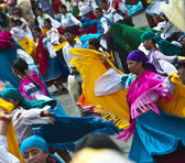 Dancers at a parade, Quito's Day, Ecuador — Stock Photo