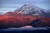 Sunset on the mighty Volcano Cayambe in Ecuador — Stock Photo
