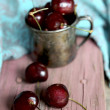 Sweet cherry in ancient pewter mug — Stock Photo #30174117