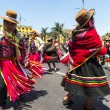 Indians dancing in the square Plaza de Armas in the Historic Cen — Stock Photo
