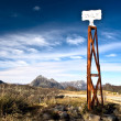 Vintage border post, Road sign at the Patagonia border of Argent — Stock Photo