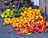 Fresh vegetables and fruits at the local market in South America — Stock Photo