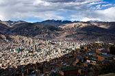 La Paz from above, with Nevado Illamani in the distance. Bolivia — Stockfoto