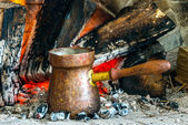 Turkish coffee cooked over hot coals — Stock Photo