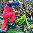 Little boy afraid to ride a bicycle — Stock Photo #25276707