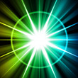 Blue Green Star Sunburst Abstract - Stockfoto