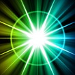 Blue Green Star Sunburst Abstract - 