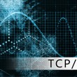 TCP IP in a Blue Data Background Illustration — ストック写真