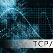TCP IP in a Blue Data Background Illustration - Stock Photo