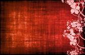 Röd grunge floral dekor — Stockfoto