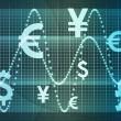 青の世界通貨ビジネスの抽象的な背景 — ストック写真