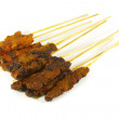 Stock Photo: Grilled Meats Skewered on Bamboo Sticks