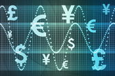 Blue World Currencies Business Abstract Background — Foto Stock