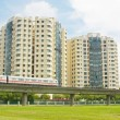Stock Photo: Apartments With Nearby Public Transport Subway Train