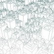 Stock Photo: Wireframe City