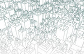 Wireframe City — Stock Photo