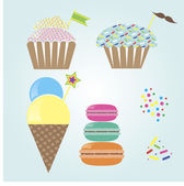 Cute confection set — Stock Vector