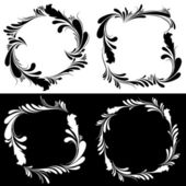 Floral black and white frames — Stock Vector