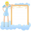 Angel in blue dress with banner — Stock Vector