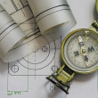 Mechanical engineering design and graphics with compass — Stock Photo
