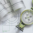Mechanical engineering design and graphics with compass - Stock Photo