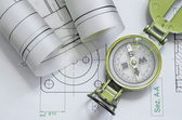 Mechanical engineering design and graphics with compass — Foto de Stock