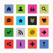 16 popular colors icon with basic sign. Simple rounded square shape internet button on gray background. — Stock Vector