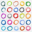 25 colore circle form brush stroke. Isolated aquarelle shapes on white background. Image of square format - Stock Vector