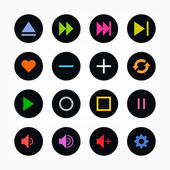 Media player control button ui icon set. Simple black circle sticker internet sign gray background. Vector illustration web design elements save in 8 eps. Newest style. — Stock Vector