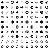 100 arrow sign icon set — Stock Vector