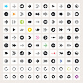 100 arrow sign icon set. Black pictogram on white circle shapes. Modern simple minimal, flat, solid, mono, monochrome, plain, contemporary style. Vector illustration web internet design element 8 eps — Stock Vector