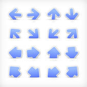 Blue arrow sign paper sticker on cut pocket. — Stock Vector