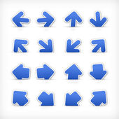 Cobalt arrow sign paper sticker on cut pocket. — Stock Vector