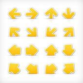 Yellow arrow sign paper sticker on cut pocket. — Stock Vector