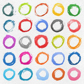 25 colore circle form brush stroke. Isolated aquarelle shapes on white background. Image of square format — Stock Vector