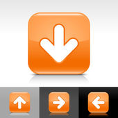 Orange glossy web button with white arrow sign — Stock Vector